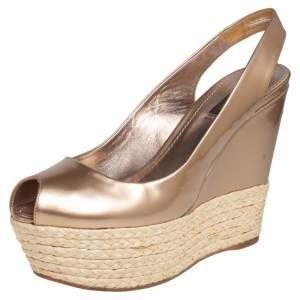 Louis Vuitton Gold Patent Leather Lagoon Raffia Wedge Slingback Sandals Size 38