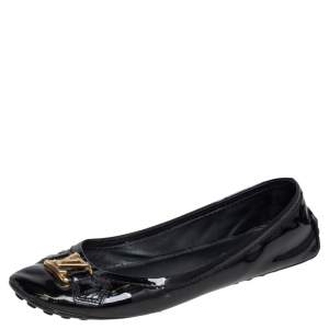 Louis Vuitton Black Patent Leather Slip On Loafers Size 38
