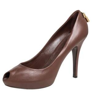 Louis Vuitton Brown Leather Oh Really! Peep Toe Pumps Size 39