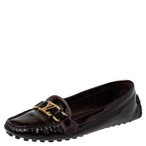 Louis Vuitton Burgundy Patent Leather Slip On Loafers Size 40