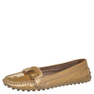 Louis Vuitton Beige Patent Leather Oxford Slip On Loafers Size 38