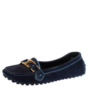Louis Vuitton Navy Blue Suede Logo Slip On Loafers Size 36