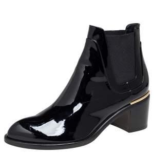 Louis Vuitton Black Patent Leather Chelsea Ankle Boots Size 37