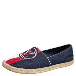 حذاء فلات لوي فيتون بوست كارد كانفاس دينم أزرق كحلي مقاس 41