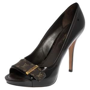 Louis Vuitton Burgundy Patent Leather and Monogram Canvas Idylle Buci Open Toe Pumps Size 39