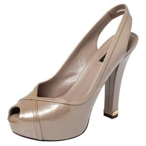 Louis Vuitton Beige Monogram Vernis Leather Tamara Peep Toe Slingback Pumps Size 39
