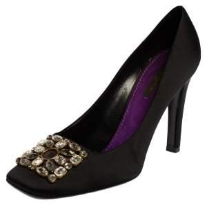 Louis Vuitton Black Satin Runway Jewel Square Toe Pumps Size 39.5