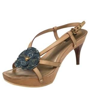 Louis Vuitton Beige/Blue Leather And Monogram Denim Platform Slingback Sandals Size 39.5