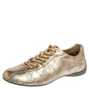 حذاء رياضي لوي فيتون جلد مونوغرامي مثقب ذهبي بعنق منخفض مقاس 36