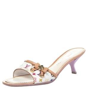 Louis Vuitton Multicolor Monogram Canvas And Leather Slide Sandals Size 37
