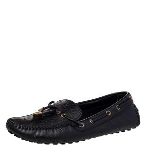 Louis Vuitton Black Monogram Leather Bow Loafers Size 39