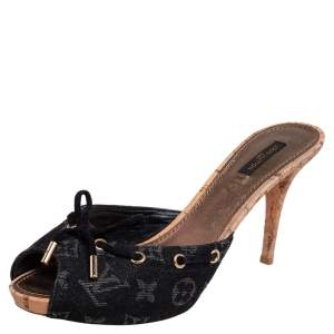 Louis Vuitton Black Monogram Denim Bow Cork Heel Peep Toe Slides Size 41