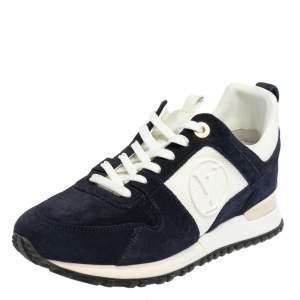 حذاء رياضي لوي فيتون راناواي شبك وسويدي أبيض / أزرق مقاس 37