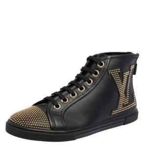 حذاء رياضي لوي فيتون بانشي جلد أسود مرصع بعنق مرتفع مقاس 37