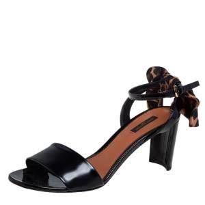 Louis Vuitton Black Patent Leather Leopard Print Bow Ankle Strap Sandals Size 40