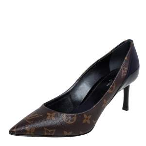 Louis Vuitton Monogram Canvas and Patent Leather Cherie Pointed Toe Pumps Size 38