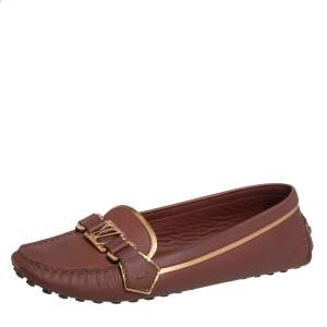 Louis Vuitton Brown Leather Oxford Slip On Loafers Size 40