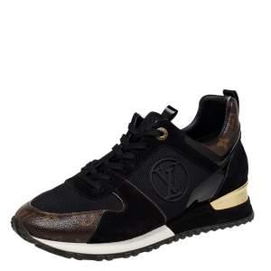 Louis Vuitton Black/Brown Mesh And Monogram Canvas Run Away Low Top Sneakers Size 40