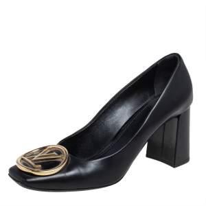 Louis Vuitton Black Leather Madeleine Block Heel Pumps Size 38
