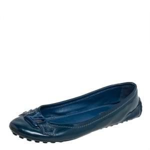 Louis Vuitton Blue Patent Leather Oxford Ballet Flats Size 37