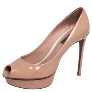 Louis Vuitton Beige Patent Leather Eyeline Peep Toe Platform Pumps Size 37