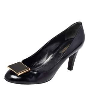 حذاء كعب عالي لوي فيتون جلد لامع أسود مقاس 38.5