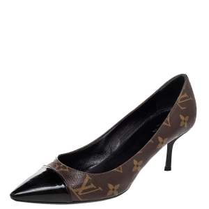 حذاء كعب عالي لوي فيتون فيتش كانفاس مونوغرامي وجلد لامع بني مقدمة مدببة غطاء مقدمة مقاس 36.5
