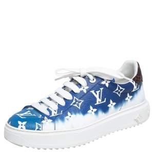 Louis Vuitton Blue/White Patent Monogram Canvas Escale Time Out Sneakers Size 40