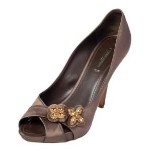حذاء كعب عالي لوي فيتون أثين ساتان زيتوني داكن مقدمة مفتوحة مقاس 39