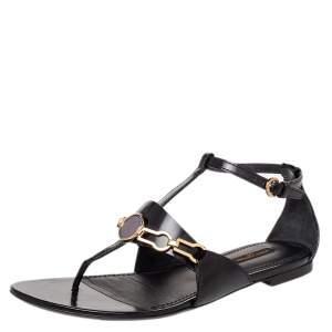 Louis Vuitton Black Leather Thong Ankle Strap Sandals Size 37.5