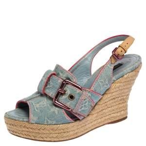 Louis Vuitton Bleached Monogram Denim Espadrille Wedge Slingback Sandals Size 37.5