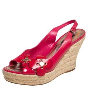 Louis Vuitton Pink Patent Leather Floral Espadrille Wedges  Sandals Size 37.5