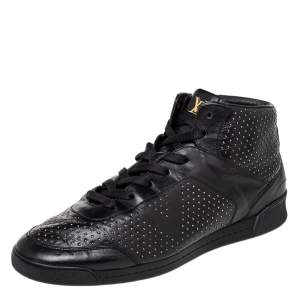 Louis Vuitton Black Leather Embellished High Top Sneakers Size 39