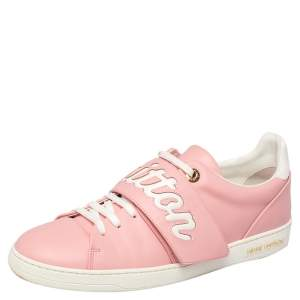Louis Vuitton Pink/White Leather Logo Frontrow Sneakers Size 41