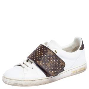 Louis Vuitton White Leather and Monogram Coated Canvas Frontrow Sneakers Size 35