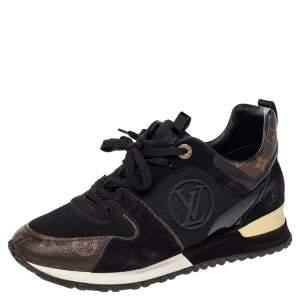 حذاء رياضي لوي فيتون ران أواي شبك وكانفاس مونوغرامي أسود/بني عنق منخفض مقاس 39