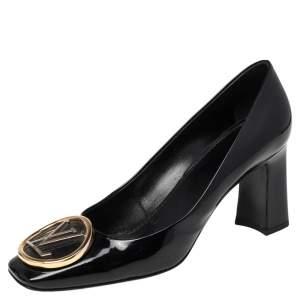 Louis Vuitton Black Patent Leather Madeleine Logo Block Heel Pumps Size 39