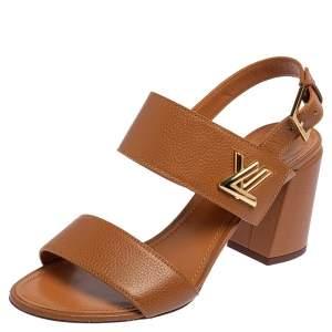 Louis Vuitton Brown Leather Horizon Block Heel Sandals Size 40