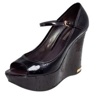 Louis Vuitton Black Monogram Vernis Leather Wedge Sandals Size 39