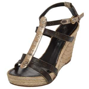 Louis Vuitton Gold/ Brown Monogram Canvas And Patent Leather Bahamas T Strap Espadrille Sandals Size 36.5