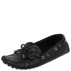 Louis Vuitton Black Leather Gloria Slip On Loafers Size 36.5