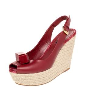 Louis Vuitton Red Leather Gossip Cube Embellished Espadrille Wedge Slingback Sandals Size 37