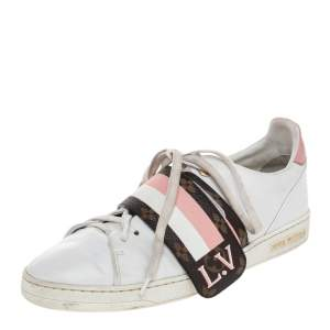 Louis Vuitton White Leather And Monogram Canvas Frontrow Low Top Sneakers Size 40