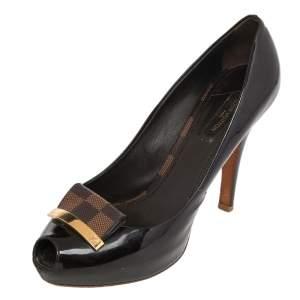 Louis Vuitton Dark Brown Patent Leather And Damier Ebene Detail Peep Toe Pumps Size 37.5