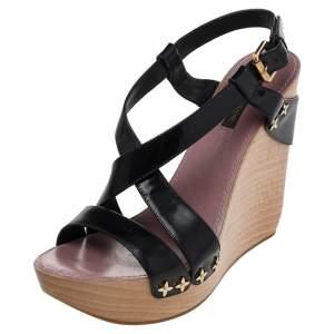 Louis Vuitton Black Patent Leather Criss Cross Wedge Platform Ankle Strap Sandals Size 38.5