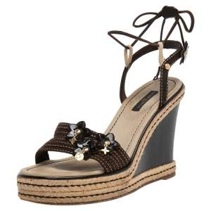 Louis Vuitton Brown Suede Wedge Ankle Wrap Sandals Size 38