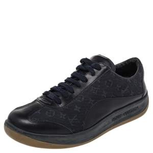 Louis Vuitton Navy Blue Monogram Canvas And Leather Low Top Sneakers Size 38