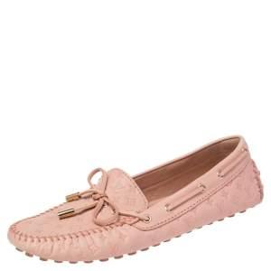 Louis Vuitton Beige Monogram Leather Gloria Bow Loafers Size 39