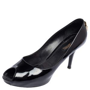 Louis Vuitton Black Patent Leather Oh Really! Peep Toe Pumps Size 40