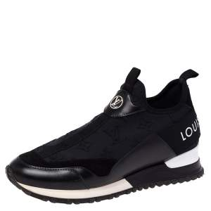 Louis Vuitton Black Monogram Neoprene and Leather Run Away Sneakers Size 36.5